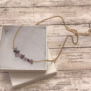 Jewelry - Natural amethyst stone necklace NEW